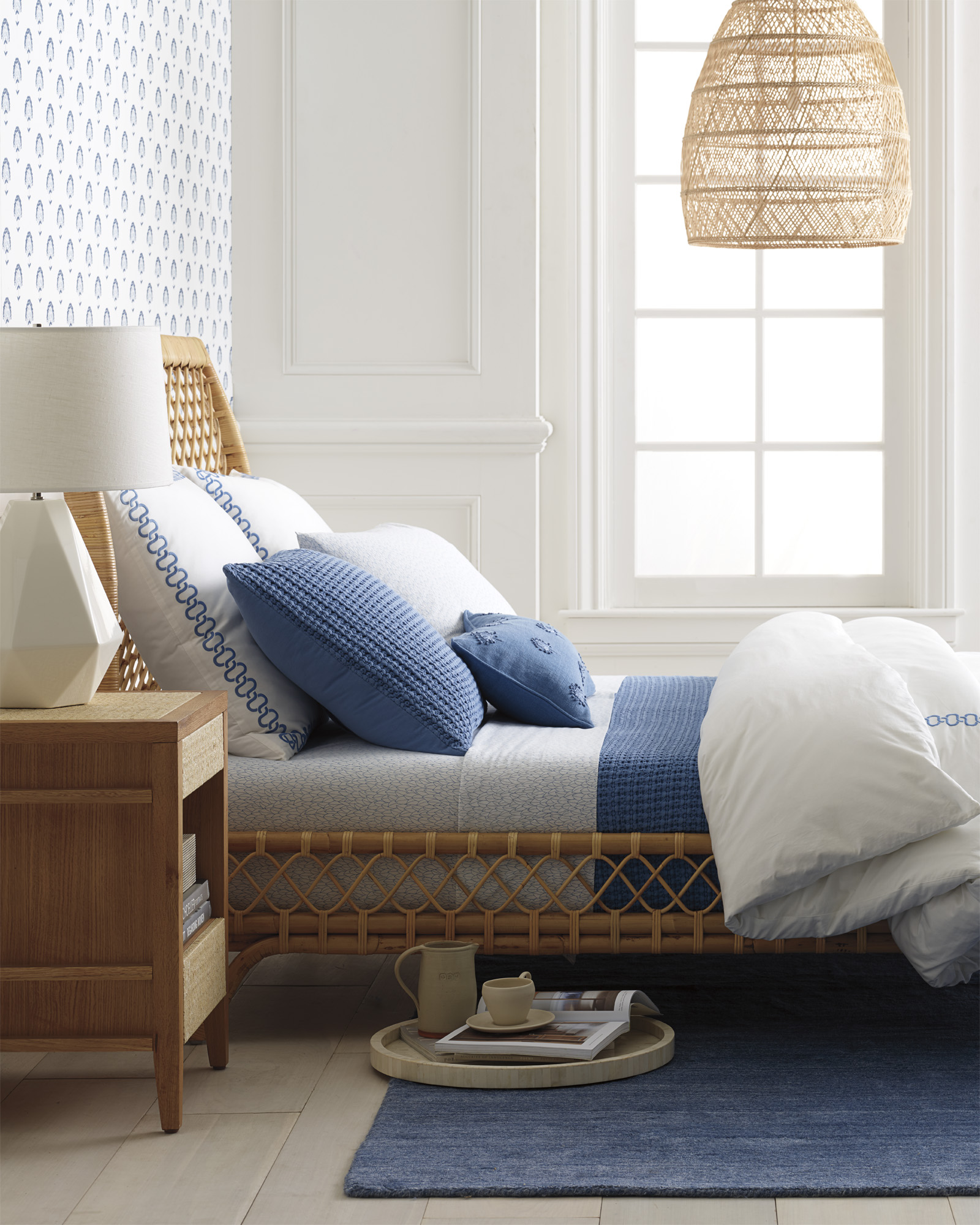 serena-lily-rattan-bed-blue-white-bedroom-wicker-woven-pendant-light